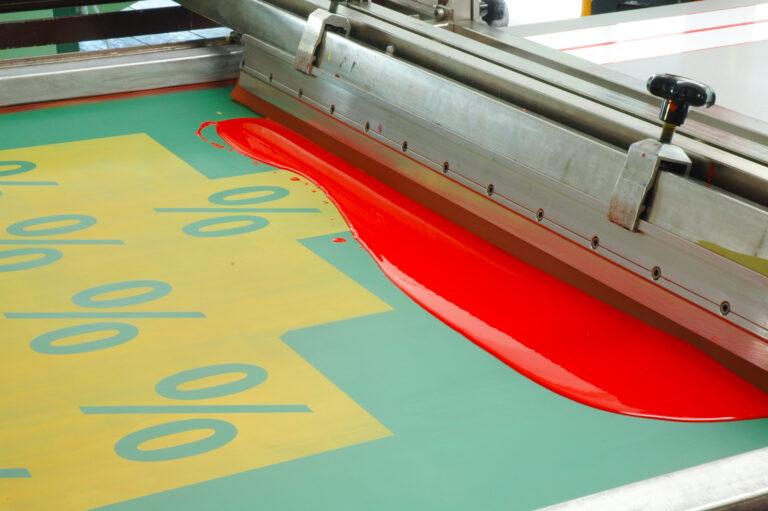 Farbe auf Sieb für den Druck von Prozentzeichen
